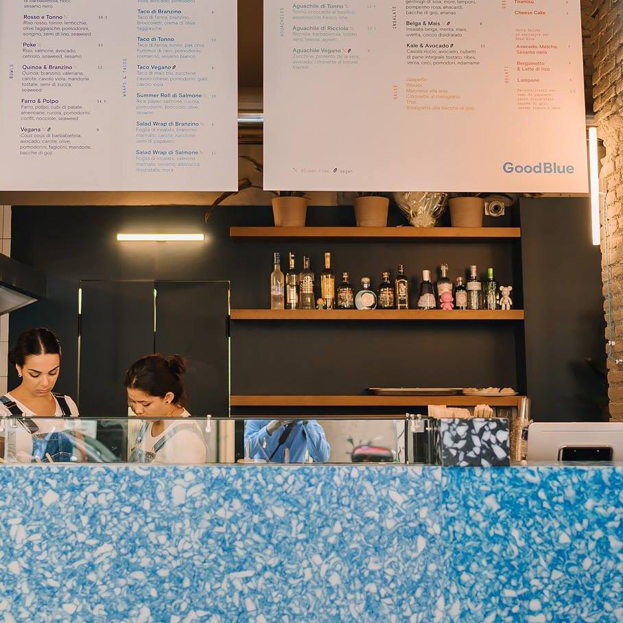 Good Blue Restaurant by Giorgia Longoni. Material: Blue Dapple.
