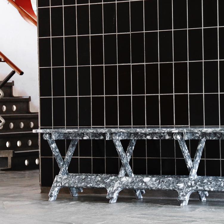 Folding Bench in Black Dapple by Paula Arntzen.