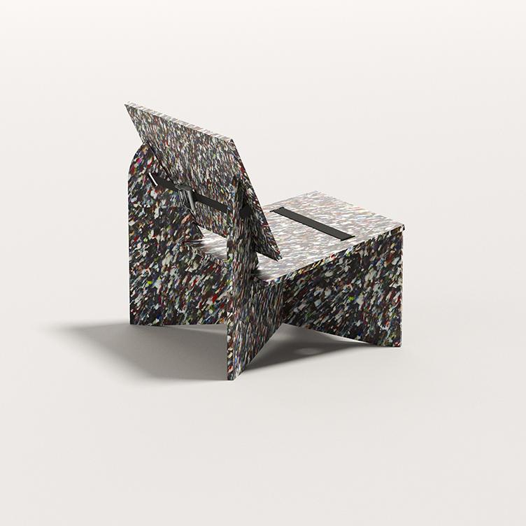 ACAD x Smile Plastics. Paris Design Week 2021. Seating bench in Kaleido.